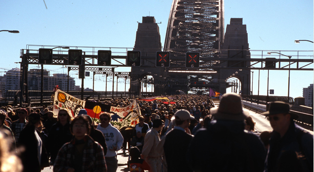 Reconcilliation walk across Sydney Harbour Bridge on 28 May 2000 (photograph courtesy City of Sydney Archives - C.Moore Hardy Collection: 66074)