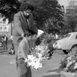 Official commemoration and wreath-laying for Aboriginal ex-servicemen at the ANZAC War Memorial in Hyde Park on 11 July 1969. Ken Colbung, along with two Aboriginal children from Green Valley, Robert Ridgeway and Peter Lonsdale, laid wreaths on behalf of the older and younger generation (Photograph courtesy Mitchell Library, State Library of NSW, APA 31662).