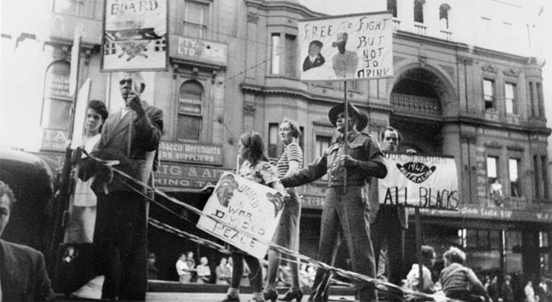 Ex-soldier and Aboriginal activist Herbert Groves wearing his World War 2 uniform as protest on the Australian Aborigines League float in the 1947 May Day procession (Photograph courtesy Australian War Memorial, P01248.001)