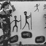 Artists Tracey Moffat and Avril Quaill painting the 40,000 Years in 1983 (photograph courtesy Carol Ruff)