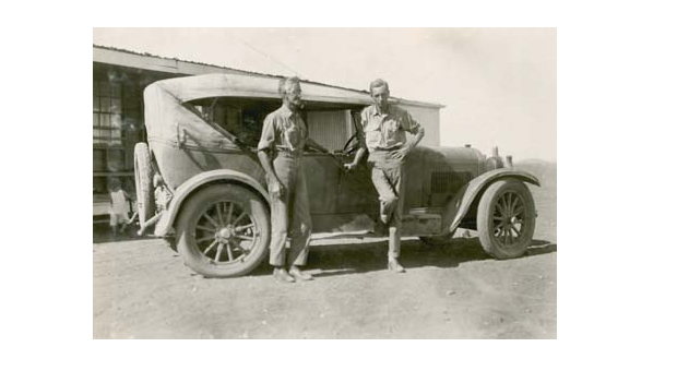 J W Bleakley and right, Dr Cecil Cook on the Barkley Tableland 1928 (NAA A263, ALBUM)