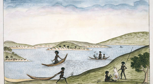 Local Aboriginal people in bark canoes on Sydney Harbour, depicted by the Port Jackoson painter c1790 (image courtesy Thomas Watling Watling Collection,  Natural History Museum, London - 012643)