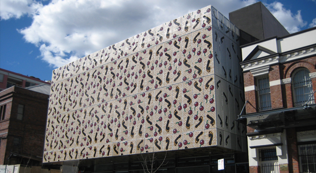 Exterior of the building for Gadigal Information Services designed by Tonkin Zulaikha Greer, with artwork by Adam Hill (photograph courtesy City of Sydney)