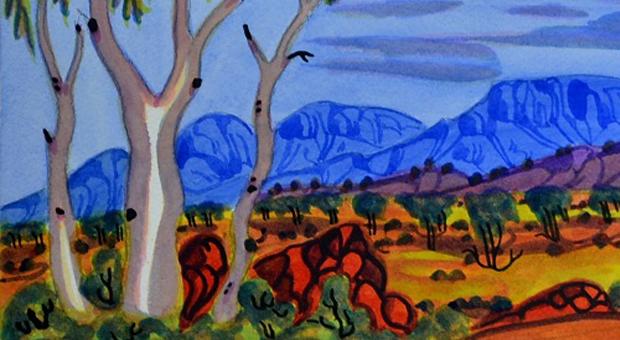 Artwork by Mervyn Rubuntja, an artist from the Ngurratjuta Art Centre in Alice Springs (image courtesy Tali Gallery)