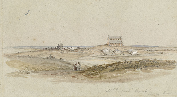 Mount Carmel Catholic Church at Waterloo, painted by Conrad Martens in 1836 (image courtesy State Library of NSW, DGD 8)
