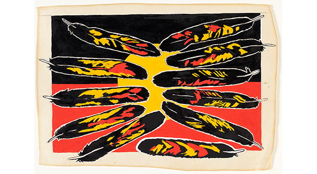 Design for ANCAAA-Boomalli exhibition poster by Jeffrey Samuels and Fern Martins, 1988. Reproduced courtesy Boomalli Aboriginal Artists Co-Operative.