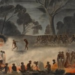 Corroboree on the Murray River, 1858 (Illustration by Gerard Krefft, courtesy State Library of NSW, Digital Order No a128454h)