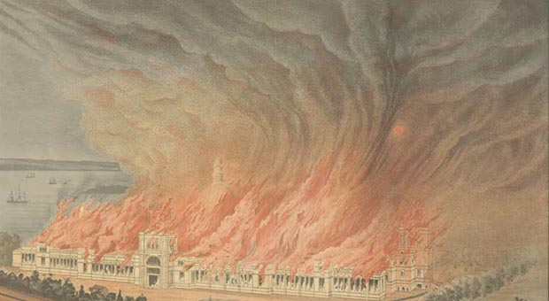 Burning of the Garden Palace, Sydney 1882, Gibbs, Shallard and Company, detail (National Library of Australia, http://nla.gov.au/nla.obj-135832272/view)