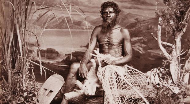 Seated man holding a fishing net, 1873 (photograph by John William Lindt, courtesy Grafton Regional Gallery Collection, gift of Sam and Janet Cullen and family 2004)