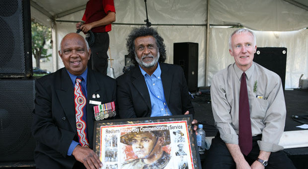 L-R Harry Allie (Retired Member of the Australian Air Force and NSW Centenary of ANZAC Ambassador), Pastor Ray Minniecon and Coloured Diggers Media Officer Don Stewart
