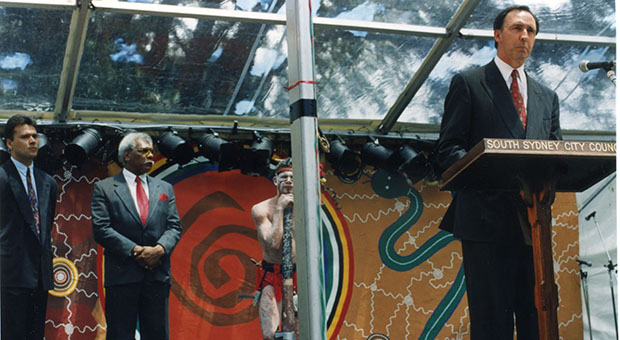 Stan Grant, Sol Bellear, Matt Doyle and Paul Keating at the launch of the International Year of the World's Indigenous People, Redfern Park (City of Sydney Archives, photograph by John Paoloni,  SRC16970)