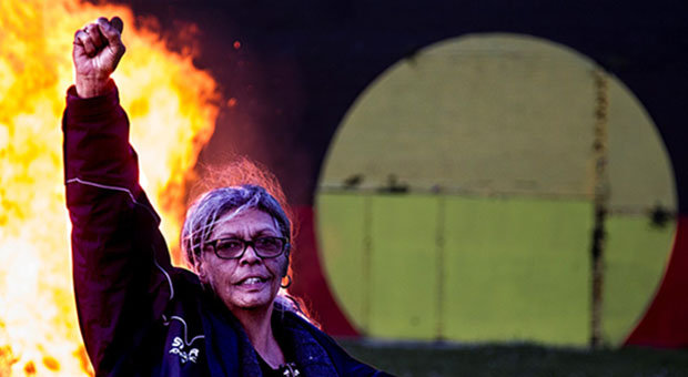 Aunty Jenny Munro celebrating victory for the Tent Embassy, photograph by Glenn Lockitch