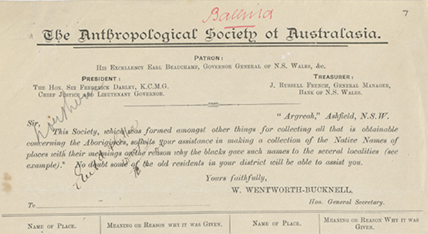 Survey forms and correspondence received by the Royal Anthropological Society of Australasia regarding Aboriginal place names, 1899-1903 (State Library of NSW, MLMSS 7603 / Box 4 / Folder 1)