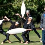 Artist Jonathan Jones with dancers from Bangarra - barrangal dyara (skin and bones)  (image courtesy Kaldor Art Projects)