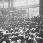 Workers at the unveiling of an honour board at the Eveleigh Railway Yards in Redfern (photograph courtesy Noel Butlin Collection, Australian National University – hdl:1885/203)