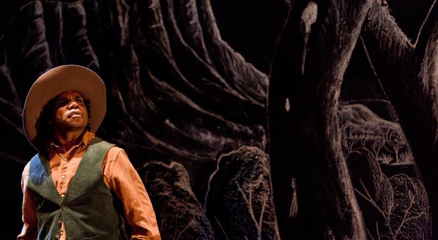 Actor Derek Lynch in a production of Namatjira at the Belvoir St Theatre in 2010 (photography by Brett Boardman, courtesy Belvoir St Theatre)