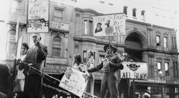 Leila Lord, Tasman Dohti, and ex-soldier and Aboriginal activist Herbert Groves wearing his Second World War uniform as protest on the Australian Aboriginal League float in the 1947 May Day procession (photograph courtesy Australian War Memorial - P01248.001)
